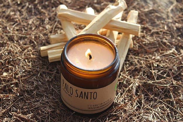 maison palo santo candle and smudge sticks
